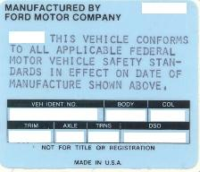1970 Vehicle Certification Label